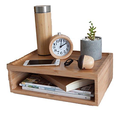 JAJAFOOK Household Essentials Wooden Storage Chest Box Computer Monitor Riser Stand Office Desktop Organizer