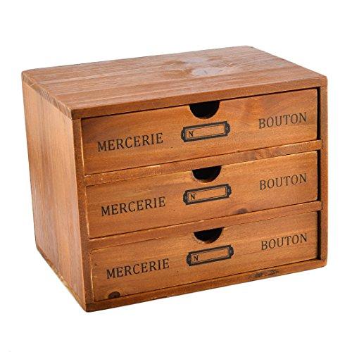 Storage Box WOLFBUSH Household Essentials 3-Drawer Wooden Storage Chest Box Office Desktop Organizer New Zealand Pine
