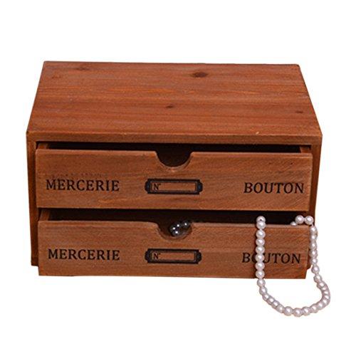 Storage Chest Box2-Drawer Wooden Office Desktop Organizer by Hmane