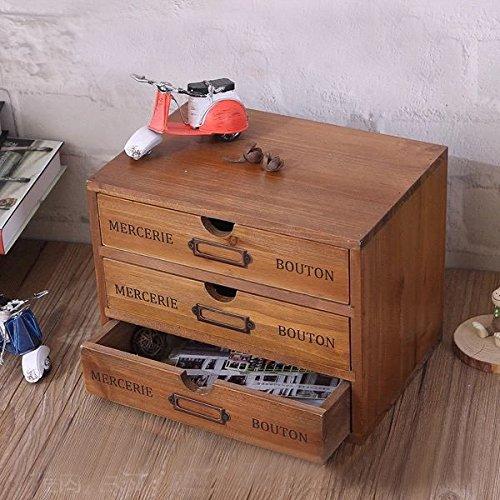 WGX The Industrial wooden storage drawer Household Essentials Wooden Storage Chest Box Office Desktop Organizer New Zealand Pine 3-layer