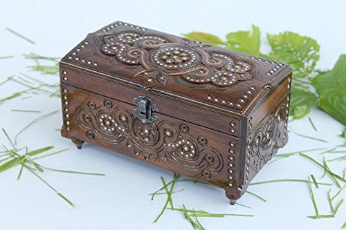 Wooden Storage Chest Jewelry Trinket Box Organizer Multipurpose with Hand Carved