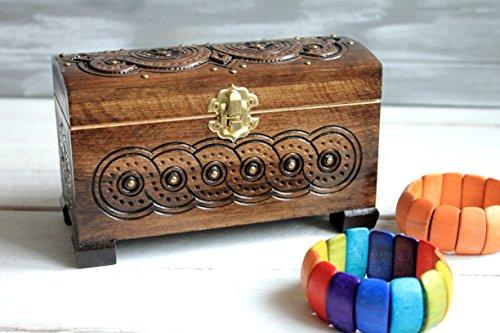 Wooden Storage Chest Jewelry Trinket Box Organizer Multipurpose with Hand Carved Wood Jewelry Trinket Holder