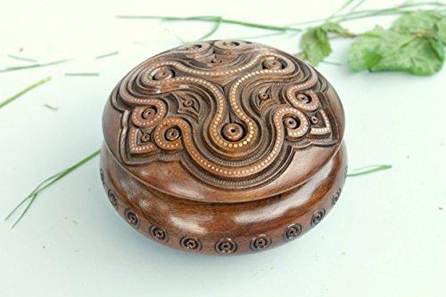Wooden round box Wooden Storage Chest Jewelry Trinket Box Organizer Multipurpose with Hand Carved