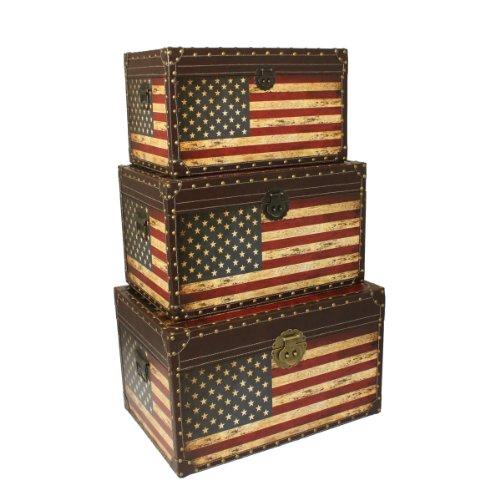 Urban Designs Antique American Flag Decorative Trunk Cases Storage Accent Decor