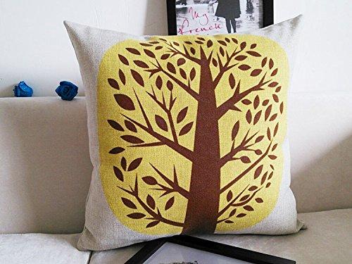 ApexshellTMYellow tree with small trunkCottonLinenSquareDecorativeThrowPillowCoverCushionCase18X133