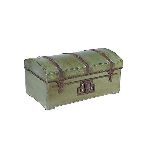 Household Essentials Decorative Vintage Storage Trunk Green Small