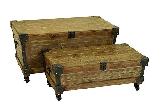 Benzara Wood Metal Trunk Brown Set of 2