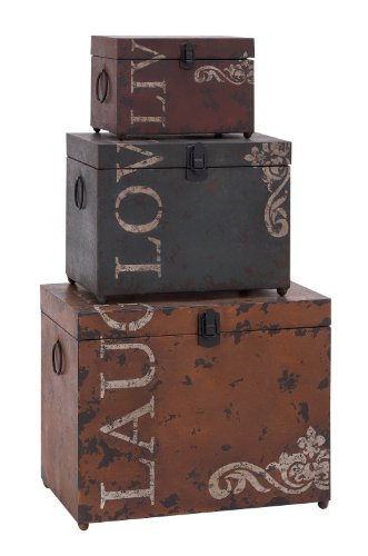 Deco 79 53854 Metal Trunks Set of 3 16129