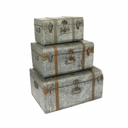 EcWorld Enterprises 7755183 Diamond Galvanized Metal Decorative Trunk Cases And Storage Accent Decor