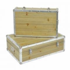 Wood And Metal Trunk Set of 2-Benzara