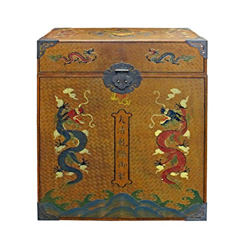 Chinese Golden Brown Dragon Graphic Trunk Box Table Acs2846