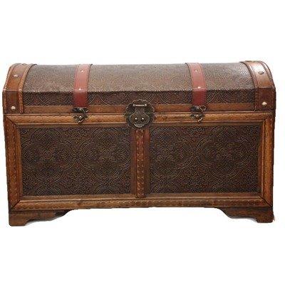 Phat Tommy Decorative Storage Steamer Trunk Chest Wood Vinatge Style Antique Decor Box