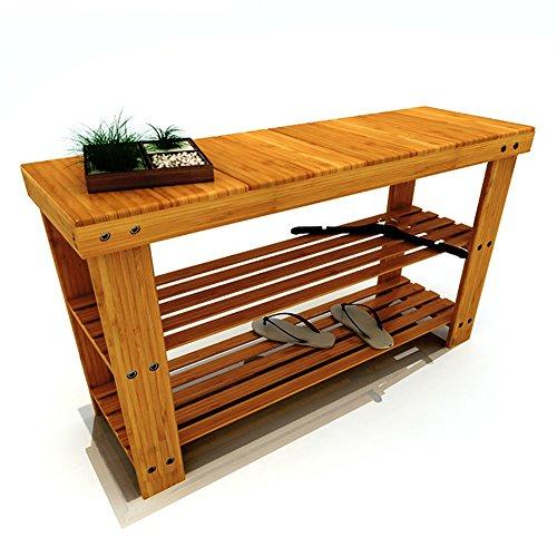 Ufine Bamboo Wood Shoe Bench 2 Tiers Entryway Shoe Storage Rack Shelf Organizer Bench Seat 275 x 11 x 177 inch