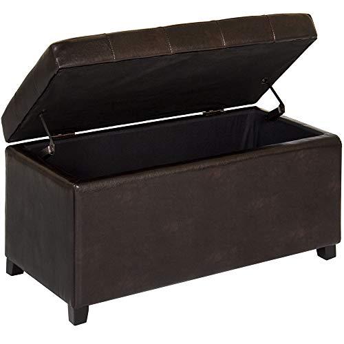 Cozinest Brown PU Leather Ottoman Storage Bench Seat Bedroom Entryway Shoe Game Organizer