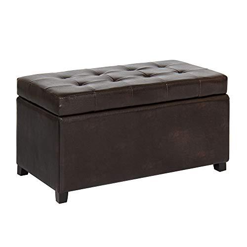 Thaweesuk Shop Brown PU Leather Ottoman Storage Bench Seat Bedroom Entryway Shoe Game Organizer 33x17x17 LxWxH of Set