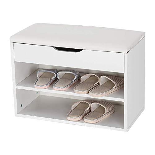 JFya Shoe Stool 2 Layers Wooden Storage Bench with PU Padded Cushion Entrance Corridor Shoe Bench White 604330cm Size  604330cm