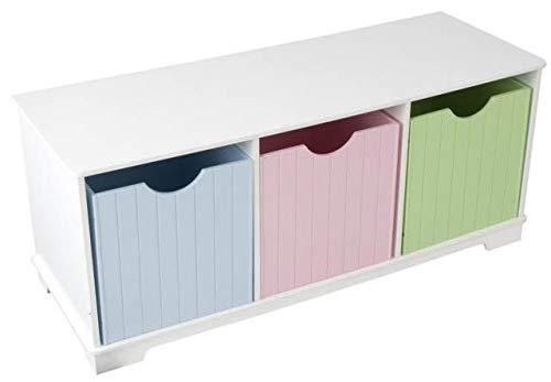 KidKraft Nantucket Wooden Storage Bench with Three Bins Wainscoting Detail - Pastel
