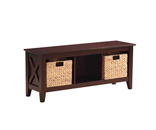 Stylistics Gabriel Wooden Storage Bench with Baskets 48 x 20 x 14 Brown