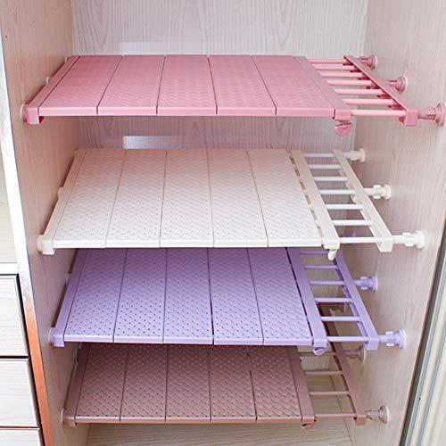 Doro88 Adjustable Storage Rack Separator Wardrobe Cupboard Shelf Extendable Closet Divider Shelving Wardrobe Organiser Space Saving for Kitchen Refrigerator Wardrobe Bookcase 29-46cmPink