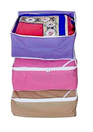 Fashion Bizz Non Woven Multi Saree Covers 3 in 1 Pcs ComboWardrobe OrganiserRegular Clothes Bag