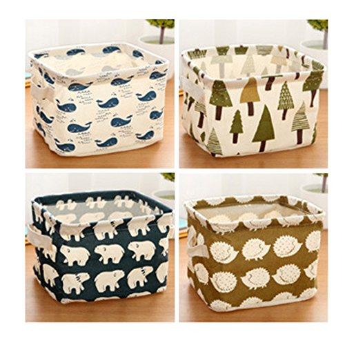 4 x Freedi Fabric Storage Cubes Foldable Cosmetic Toys Organizer Mini Square Storage Bins for Nursery with Handle