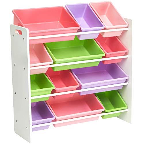 AmazonBasics Kids Toy Storage Organizer Bins - WhitePastel Renewed
