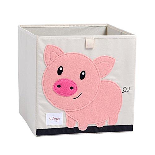 DODYMPS Foldable Animal Canvas Storage Toy BoxBinCubeChestBasketOrganizer for Kids 13 inch Pig