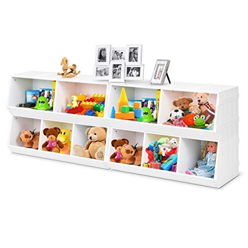 Giantex Kids Toy Storage Bins Children Collection Shelf Multi-Bin Storage Cubby Bin Storage Organizer with 5 Storages for Nursery Playroom Closet Home Organization Toy Shelf Organizer White 2