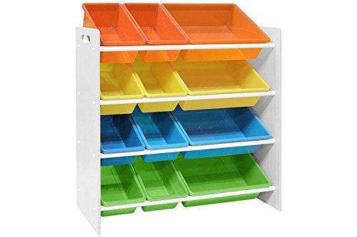 Pidoko Kids Toy Storage Organizer  Wooden Childrens Storage Rack with Plastic Bins White