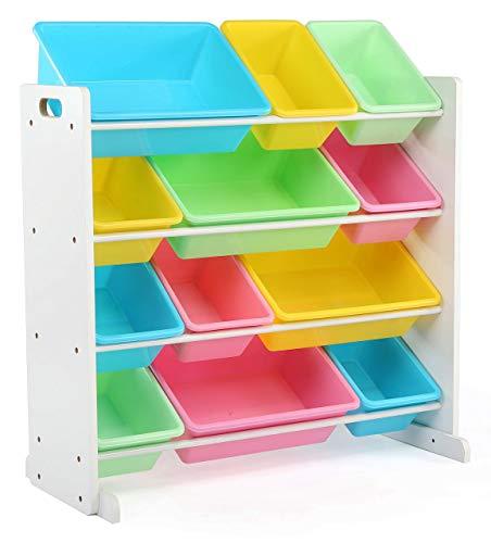 Tot Tutors Kids Toy Storage Organizer with 12 Plastic Bins WhitePastel Pastel Collection Renewed