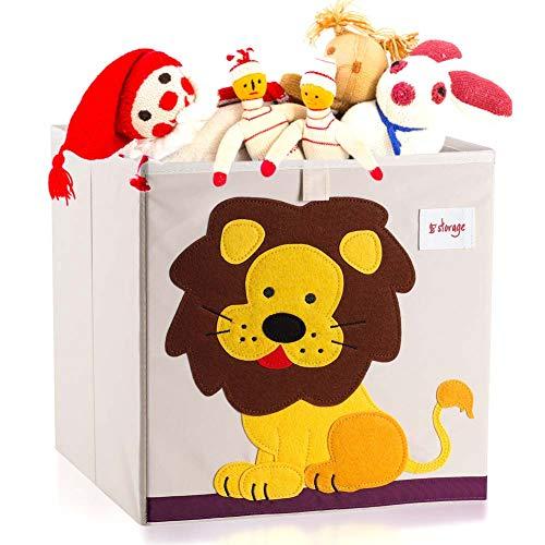Vmotor Foldable Animal Canvas Storage Toy BoxBinCubeChestBasketOrganizer for Kids 13 inchLion