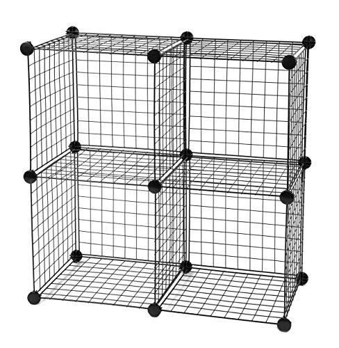 IRIS Medium Wire Storage Cubes Set of 4 Black