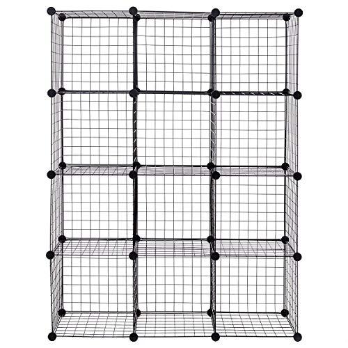 Moralty DIY 12 Cube Grid Wire Cube ShelvesCube Wire DIY 6 Shelves Grid Storage Organizer Cubes Bookcase Cabinet Us Home Shelve Metal Closet Grids Rack Black Bins Toys Boy Girl Clean