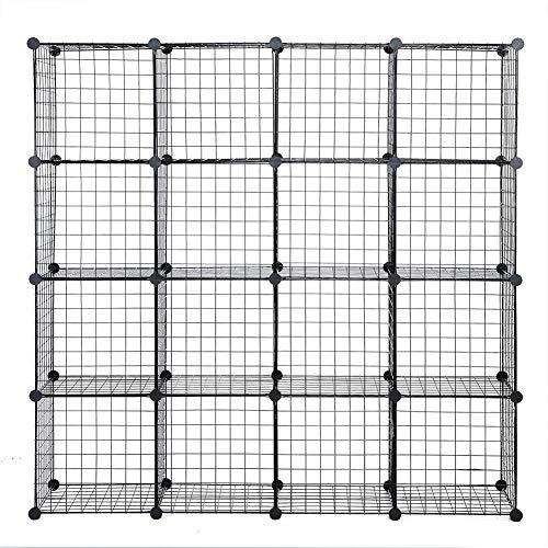 POCREATION Large Capacity Metal Wire Storage Cubes CabinetDIY 16 Cube Closet Organization System Black Modular Shelving Grids Bookcase Shelving Unit