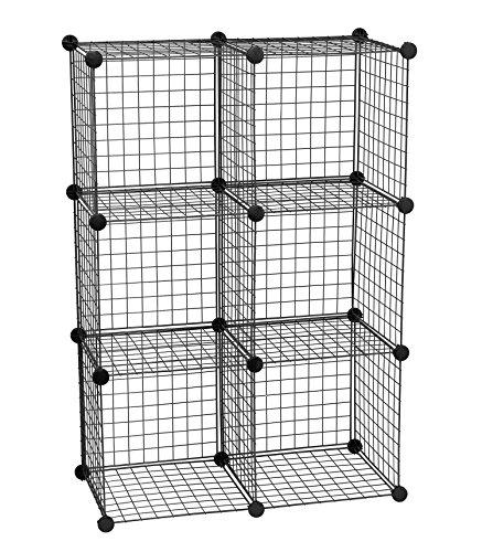 Storage Solutions Wire 6 Cube Storage - Black