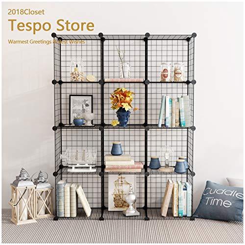 Tespo Wire Storage Cubes Modular Shelving Unit DIY Metal Grid Closet Organizer System Bookcase Cabinet 12 Cubes