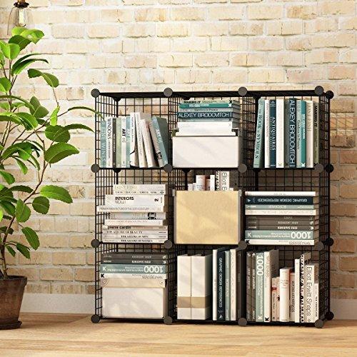 VuHom Metal Wire Storage Cubes Modular Shelving Grids DIY Closet Organization System Bookcase Cabinet 9 Cubes