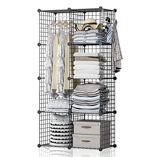 YOZO Modular Wire Cube Storage Wardrobe Closet Organizer Metal Rack Book Shelf MultiFuncation Shelving Unit 8 Cubes Depth 14 inches Black