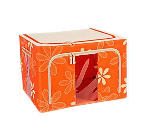 Foldable and Large Oxford Cloth Storage Bag Clothes Blanket Storage Box Size 44L Color Orange