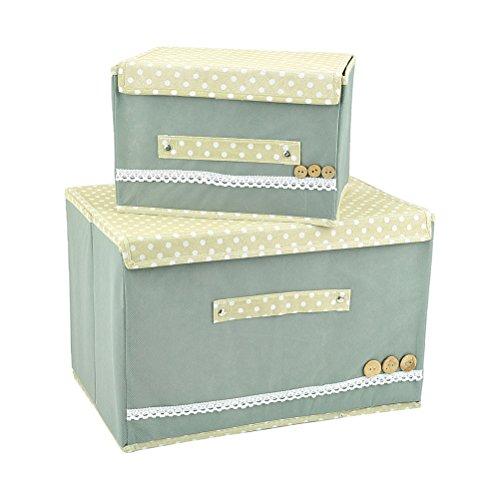 Zebratown 2pcs Attractive Storage Box Portable Organizer Non-woven Clothing Pouch Holder Blanket Pillow Underbed Storage Bag Box Gray