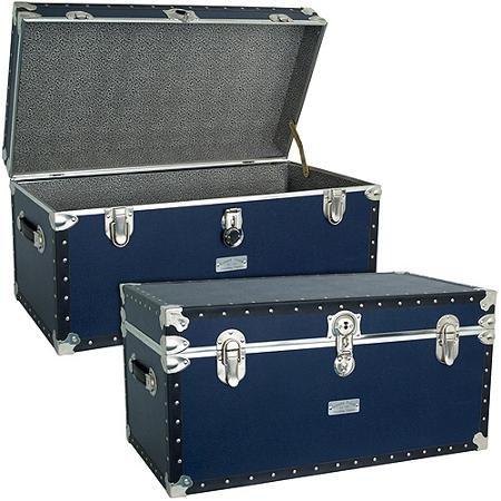 Mercury Luggage Seward Trunk Stackable Storage Footlocker 31 Blue