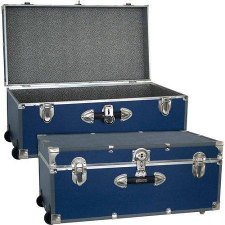 Seward Trunk Wheeled Storage Footlocker 30 BLUE  Durable wooden construction