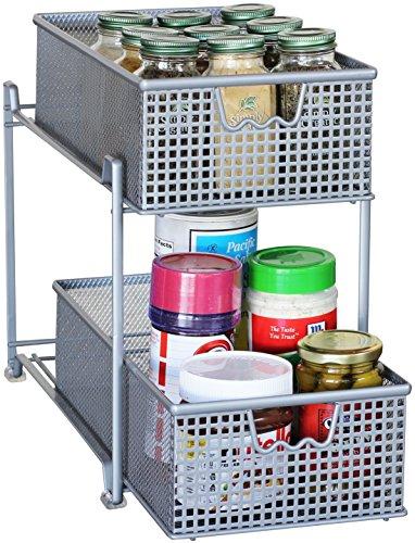 DecoBros 2 Tier Mesh Sliding Cabinet Basket Organizer DrawerSilver