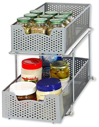 SimpleHouseware 2 Tier Sliding Cabinet Basket Organizer Drawer Silver