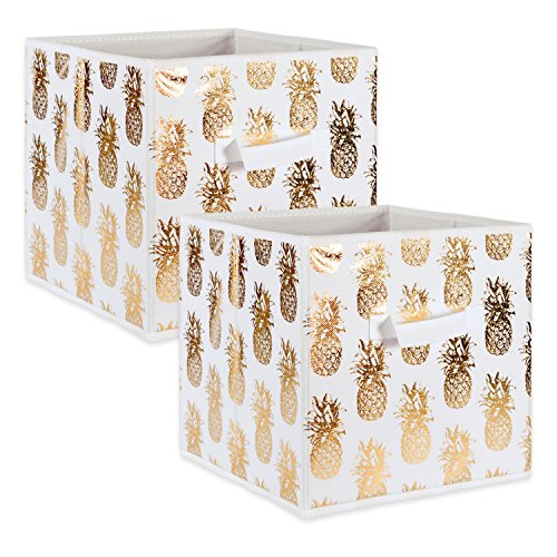 DII Fabric Storage Bins for Nursery Offices Home Organization Containers Are Made To Fit Standard Cube Organizers 13x13x13 Pineapple Gold - Set of 2