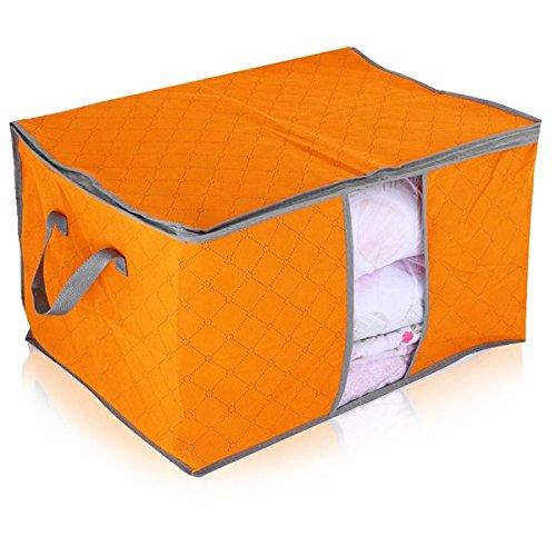 Storage Containers Portable Non-woven Fabric Clothing Organizer Box Basket Blanket Quilt Storage Organizer Box Bag L Orange