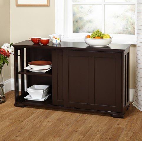 Simple Living Sliding Door Stackable Espresso Cabinet Kitchen Storage Furniture