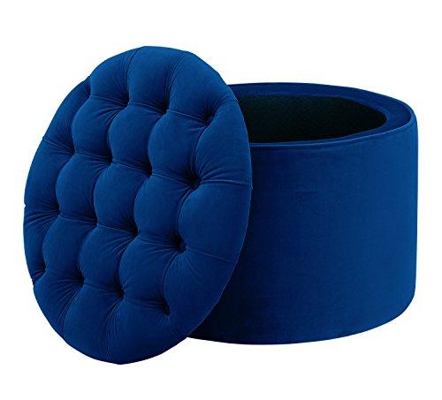TOV Furniture Queen Velvet Storage Ottoman Navy Blue