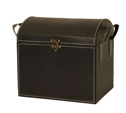 Wald Imports Black Faux Leather  Decorative TrunkChest
