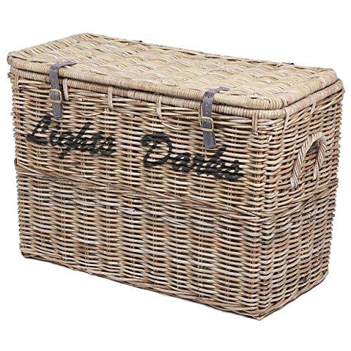 Large Wicker Light Darks Laundry Basket